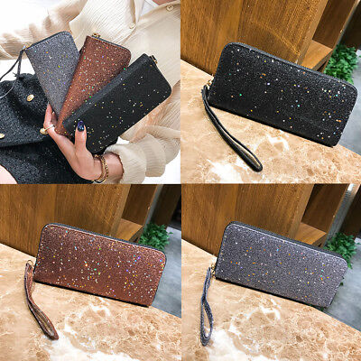 Lot Women Sparkling Stars Faux Leather Zipper Long Wallet Purse Card Holder Nice