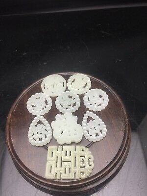 9 X Small Pieces 19/20th Chinese carved jade Pendant