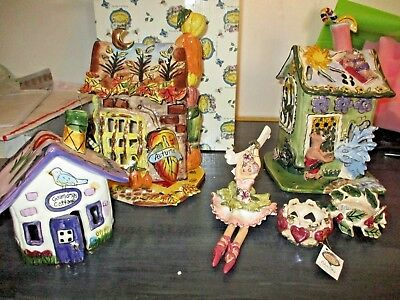 Blue Sky Clayworks Lot of 6, 3 houses, 2 tealights, one Hanging Figurine