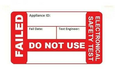 PAT Test Sticker FAIL 38 x 25mm Electrical Safety Check Label Appliance