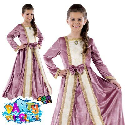 Child Royal Ball Gown Elizabeth Costume Medieval Queen Girls Fancy Dress Outfit