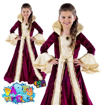 Child Royal Ball Gown Victoria Costume Medieval Queen Girls Fancy Dress Outfit