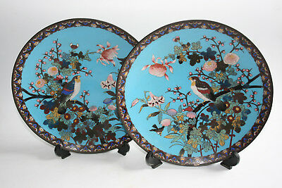 Pair of Antique Large Oriental Chinese Bronze Cloisonne Carved Painted Plate