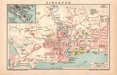 SINGAPORE City Map Lithograph 1892 old historical map antique print