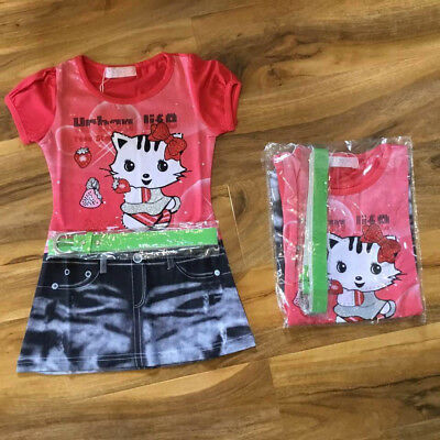 Lovely Girls Tunic Dress Kitty Outfit With Belt Cerise 2-3-4 Years