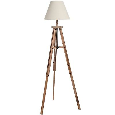 Large Traditional Vintage Style Brown Wood Tripod Floor Lamp (H18556) 133cm