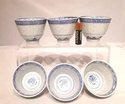 "Set of 6 x Chinese Antique 20thC Rice Pattern 2.25"" Bowls Blue & White"
