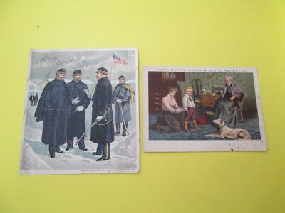 Trade Cards, J & P Coats Spool Cotton And  The New Home Sewing Machine