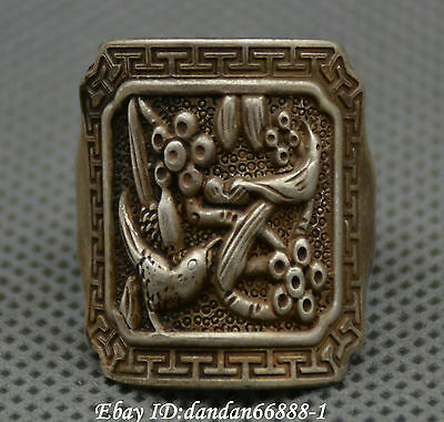 Collect Chinese old Miao silver carve magpie plum blossom auspicious lucky ring