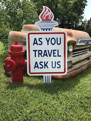 "Antique Vintage Old Style Amoco Gas Oil As You Travel Ask Us Sign 46""!"