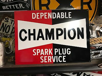 Antique Vintage Old Style Champion Spark Plugs Sign Great Quality!!!