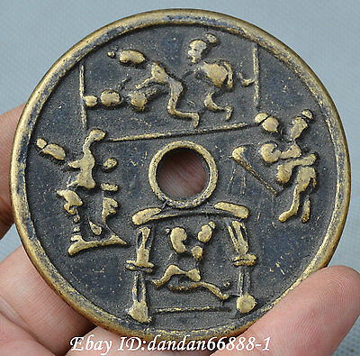 Collect Chinese old Bronze coin copper cash carve men and women Copper coins