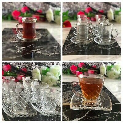 12pc Designer Glass Turkish Arabic Tea Coffee Serving Set Saucers cups set of 6