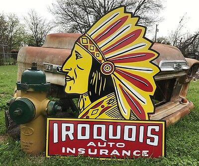 Antique Old Style Iroquois Auto Insurance Sign !!!!!!! SALE !!!!!!