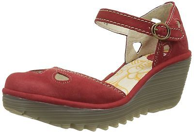fe0415cf9175 FLY LONDON YUNA Red Womens Leather Wedge Sandals Shoes -  99.55 ...