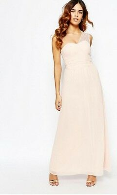 9f11a503b8b1 Elise Ryan Lace One Shoulder Nude Maxi Sweetheart Dress Ball Gown 12 $94