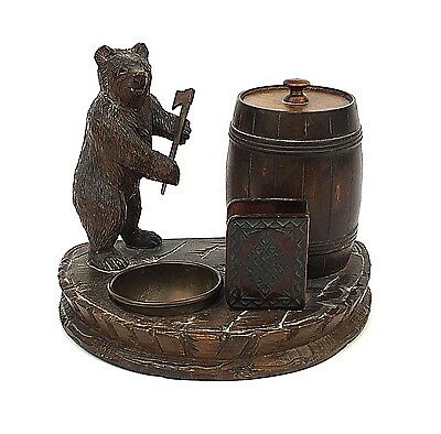 Antique Black Forest Bear Smokers Desk Stand Smokers Companion c1900