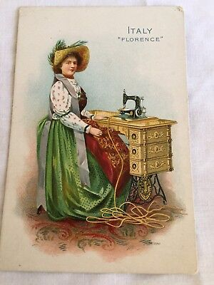 Antique Victorian Singer Sewing Machine Trade Card, 1800's, Italy, Advertising