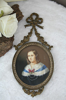 Antique French hand painting louis XVI brass frame Lady portrait miniature 1925