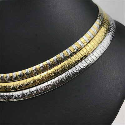 Women Fashion Stainless Steel Silver/Gold Collar Choker Necklaces Gift 6mm/8mm
