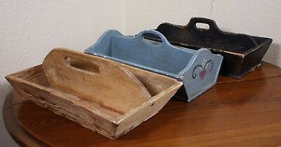Lot of 3 Vtg Antique Wood Trays Handled Cutlery Trays Primitive Collection Totes