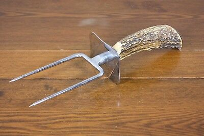 "Outstanding Heavy Duty Vtg 11"" Antler Metal Meat Carving Serving Round Tine Fork"