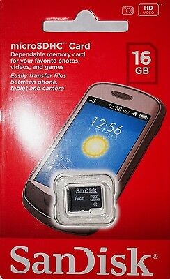 Sandisk 16GB Class 4 Micro SD Cell Phone Memory Card