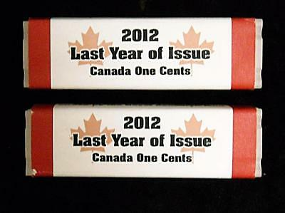 2012 CERTIFIED 2 ROLL's ONE-CENT COINS STRUCK BY THE ROYAL CANADIAN MINT (A032)