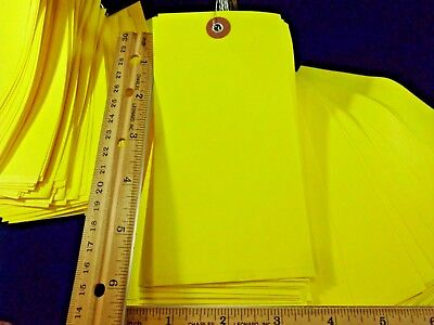 """100 shipping inventory tags 6-1/4"""" x 3"""" yellow prewired TyveK weather proof"""
