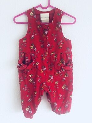 Vintage Baby Laura Ashley 80s Red Floral Cord Romper Babygrow Playsuit 6M