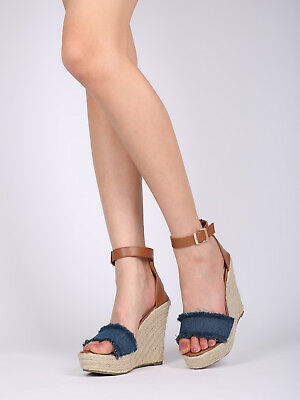 5c908d2a8 New Women Refresh Miya-02 Frayed Ankle Strap Espadrille Platform Wedge  Sandal