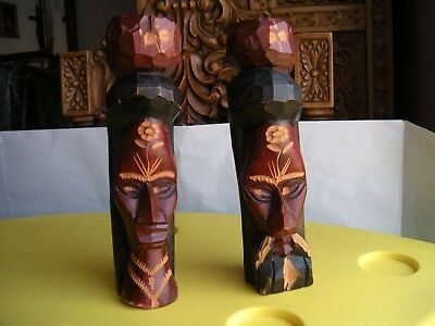 Hand Carved Wood Jamaica Man Woman Statue Heads Jamaican
