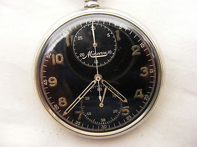 RARE MINERVA CHRONOGRAPH POCKET WATCH c1940s BLACK DIAL PERFECT WORKING ORDER