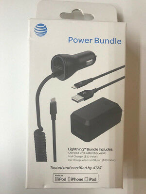 AT&T Charge Sync Cable Wall Charger Car Charger lightning Bundle iPhone7 7+ 6 6+