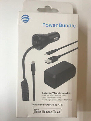 AT&T Charge Sync Cable Wall car Charger Car lightning Bundle iPhone7 7+ 6 blk