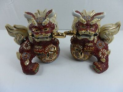 Old  Vintage Pair Decorative Ornate Colourful  Foo  Dogs