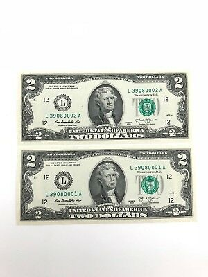 2 Uncirculated $2 Two Dollar Bills 2013 in Sequential Order US Real paper Money