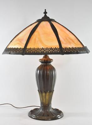 Antique Arts and Crafts Style Carmel Slag Glass Lamp