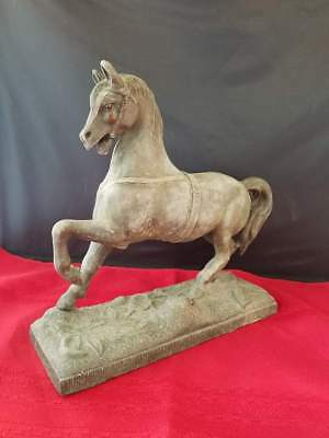 "ANTIQUE VINTAGE SCULPTURE HEAVY BRONZE METAL HORSE STATUE ON BASE 8.25x3x8"" 40oz"