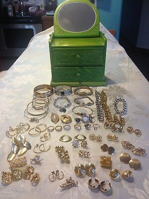52 ITEMS! Rings, earings, bracelets, NICE COSTUME jewelry WITH Music Box MONET