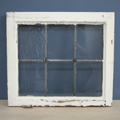 Beautiful Antique Salvaged Reclaimed Wooden Framed Square Leaded Glass Window