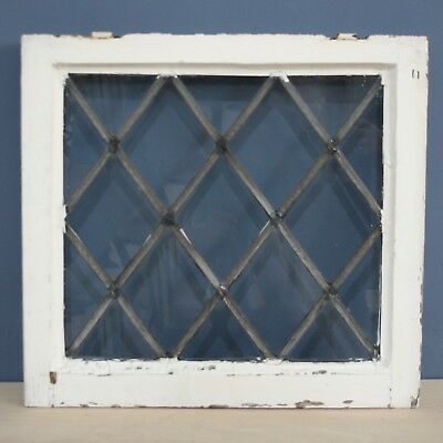 Beautiful Antique Salvaged Reclaimed Wooden Framed Diamond Leaded Glass Window