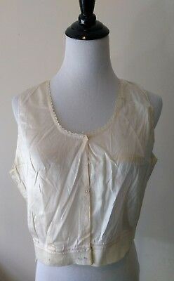 Antique Edwardian Victorian Silk Satin Corset Cover Camisole Underwear