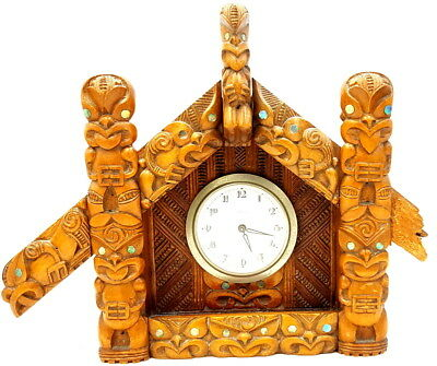 Maori wooden carved Poles Early 20th century  Kaiser Mantle Clock