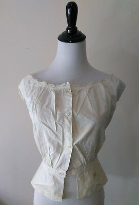Antique Edwardian Victorian Cotton Lace Trim Corset Cover Camisole 1800s