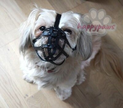Leather Dog Muzzle for Shih Tzu and other flat face faced short snout dog's