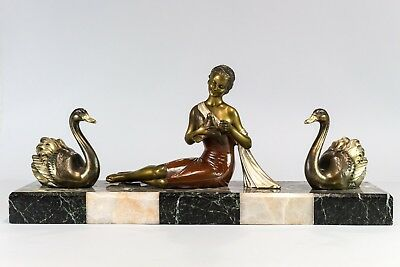 1930 LARGE STATUE SCULPTURE ART DECO LADY WITH SWANS by MOLINS BALLESTE . SIGNED