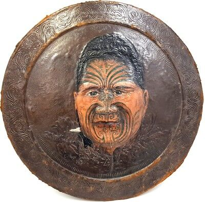 Rare Early 20th century Portrait of Maori men on leather, signed and dated 1930
