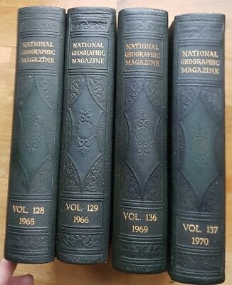 4x National Geographic Magazine Bound Volumes 1965 1966 1969 1970 Superb Article