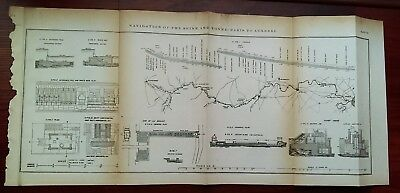 1873 Engineering Diagram Map Navigation of the Seine at Yonne Paris to Auxerre